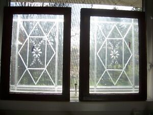 Pair of Antique windows with etched design on glass Kingston Kingston Area image 3