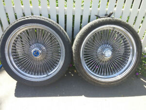 "20"" Dayton 100 spoke chrome rim & tires x4"