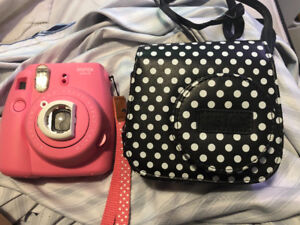 Pink Instax Mini 9 with Polka dot case