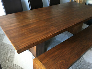 Beautiful teak wood dining table and bench