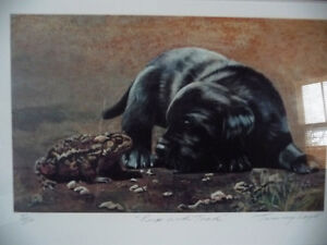 "Hand Signed, Titled by Listed Artist Tammy Laye ""Pup And Toad"" Stratford Kitchener Area image 2"