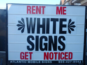 GREAT DEAL:  White Mobile Signs For Sale! Why Rent??
