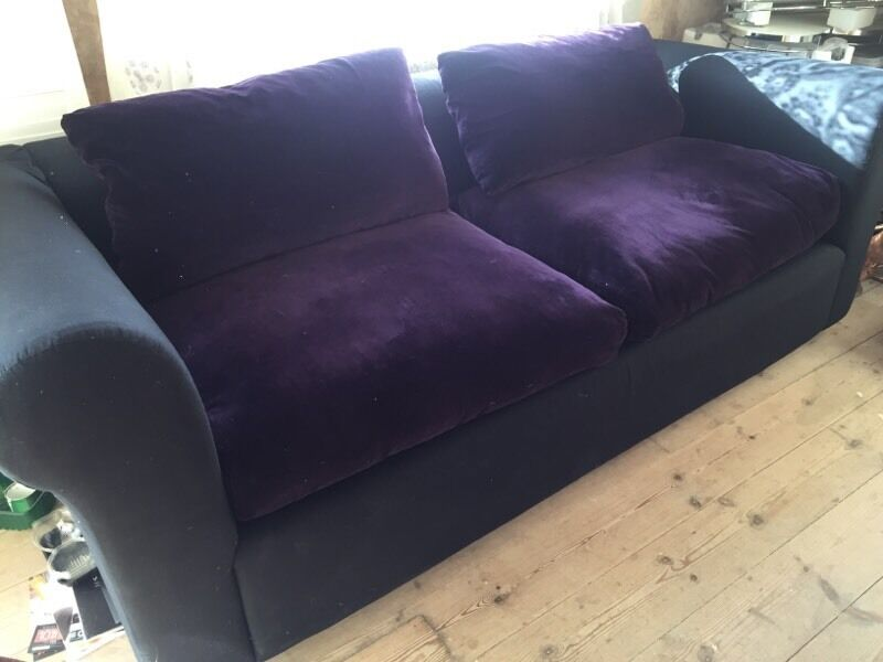 Habitat Louis Sofa Bed Purple Velvet 3 Seater 700 Ono