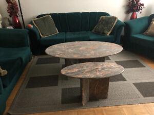 2 tables en marbre