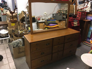 Large solid wood 9 drawer dresser