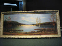"""Large Framed Canvas Painting (1972) by Godefrey """"Chubby"""" Hébert"""