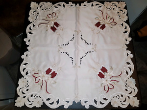 Linen and  Lace tablecloth