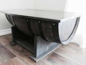 Barrel coffee table, end table and wine rack