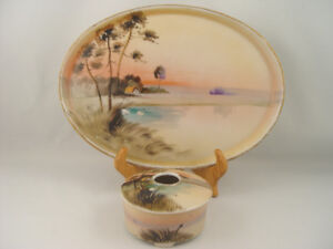 Antique Hand Painted Set Nippon Potpourri Pot and Tray Deco