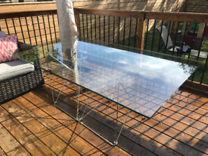 Glass and Chrome Dining Table - Large