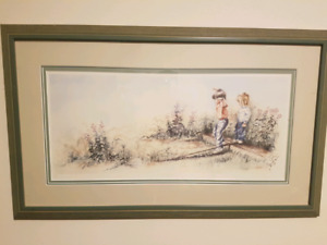 """""""Follow the Leader"""" by Julia Conlon glass and wood framed"""