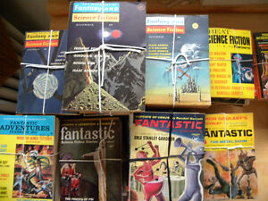 large collection of vintage sci-fi pulp fiction