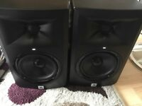Pair of JBL LSR305 Active Studio Monitors Speakers and Cables