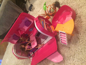 Barbie jet, furniture and over15 barbies