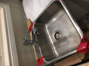 kitchen sink stainless steel with Belanger faucet.