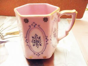1920's Antique Bone China Cup - Czechoslovakian - Pink 24Kt Gold