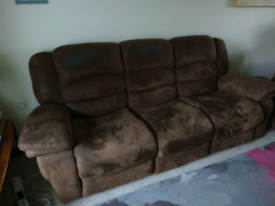 3 seater recliner sofa - brown suede - FREE!
