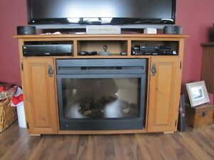 TV unit ith electric fire place insert