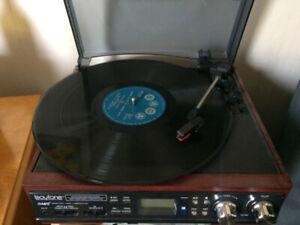 Portable record player.