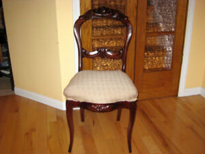 1 Gorgeous Antique Victorian Mahogany Chair. 1 Teak Chair