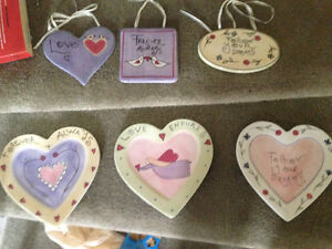 Heart shaped plates for wall