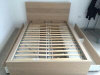 Double bed frame with 4 storage