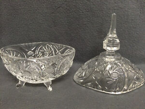Collectible Antique Crystal Pinwheel Covered Candy Dish London Ontario image 5