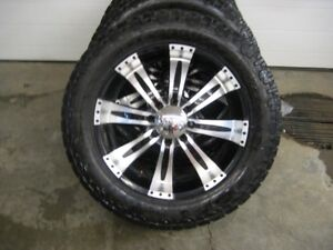 SET OF 35X13:50R22 TIRES AND WHEELS 8X6.5 BOLT PATTERN