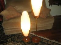 Retro Danish Mid Century Modern Atomic teak lamp set 1600.00 obo