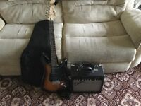 Squier by Fender Strat Electric Guitar c/w Fender Amp