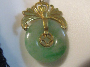22 K Solid Gold Grade A Jadeite Necklace 24 Inches + Ring SZ 8