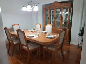 9 piece oak dining room set
