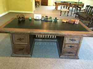 Early 20th Century Solid Oak 72 inch Leather Top Executive Desk Kingston Kingston Area image 8