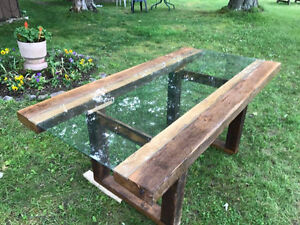 110 Year Old Rustic Beam and Glass Dining Table