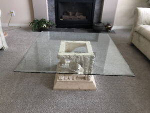 Glass top white marble coffee table and plant stand