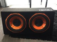 Edge twin active enclosure subwoofer with built in amplifier
