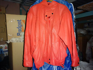 LEATHER JACKET,women's/lady , color coral,little worn,m-L