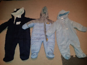 Baby snow suits .