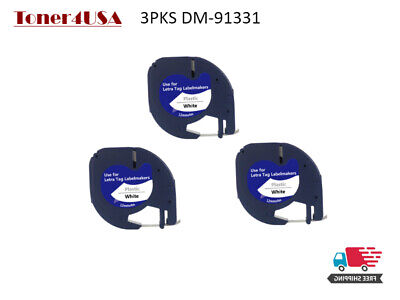 3 Pk Compatible Dymo Letratag 91331 Black On White Label Tape Refill Us Shipping