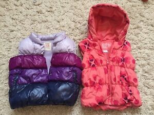 Girl's puffy vests size 18-24 months