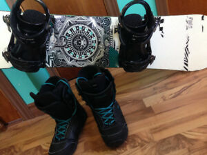 Snowboard Set with Bindings and Boots (Helmet if requested)