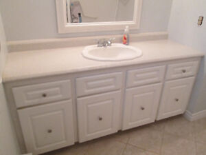 Bathroom cabinets with countertop, sink & faucet