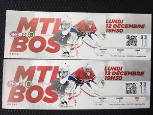 Canadiens MTL VS Boston Lundi 12 Décembre 2016