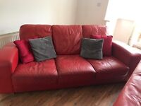 Red leather large sofa x 2