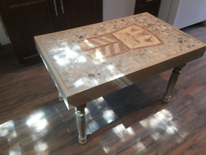 tile inlaid coffee table