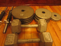 2 Dumbell Sets: 65lbs and 2 fixed dumbell 15lb each