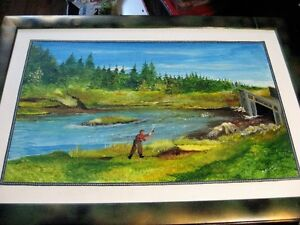 ANTIQUE NL OIL PAINTINGS (2) and (1) NL LEATHER TOOLING