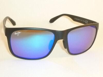 Authentic Polarized MAUI JIM RED SANDS  Sunglasses Matte Black B432-2M Blue (Maui Jim Blue Lens Sunglasses)