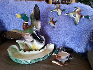 Vintage mallard duck lamp/wall decor and planter
