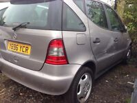 2001 MERCEDES A160 A CLASS. 1.6 PETROL. BREAKING FOR PARTS SPARES ONLY. Silver.
